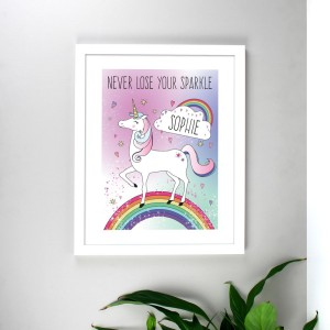 Personalised Unicorn White Framed Print
