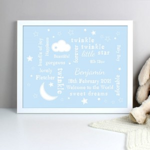Personalised Blue Twinkle Twinkle Typography White Framed Print