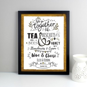 Personalised We Go Together Like... Black Framed Poster Print