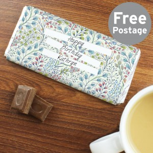 Personalised Botanical Milk Chocolate Bar