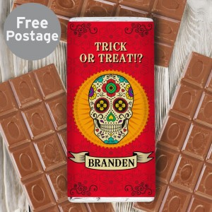 Personalised Sugar Skull Milk Chocolate Bar