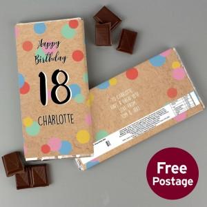 Personalised Birthday Colour Confetti Milk Chocolate Bar
