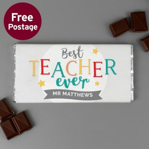 Personalised Best Teacher Ever Milk Chocolate Bar