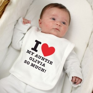 Personalised I HEART 0-3 Months Baby Bib