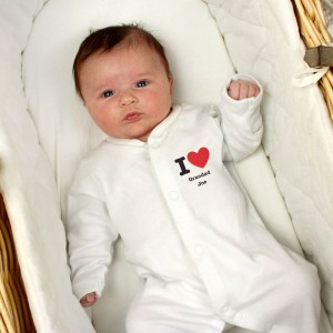 Personalised I HEART 0-3 Months Babygrow