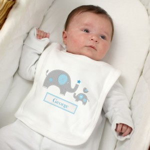 Personalised Blue Elephant 0-3 Months Baby Bib