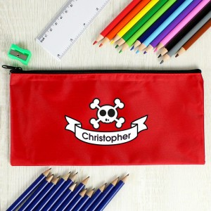Red Skull Pencil Case with Personalised Pencils & Crayons