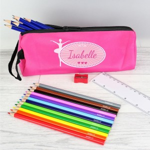Pink Ballerina Pencil Case with Personalised Pencils & Crayons