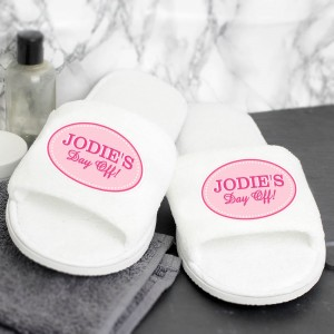 Personalised Pink Oval Velour Slippers