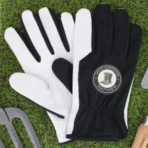 Personalised Head Gardener Large Black Gardening Gloves