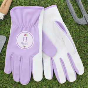 Personalised Floral Bouquet Medium Lilac Gardening Gloves