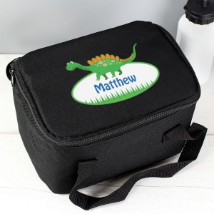 Personalised Dinosaur Black Lunch Bag