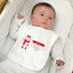 "Personalised ""1st Christmas"" Mouse Bib"