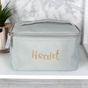 Personalised Gold Name Grey Make Up Wash Bag