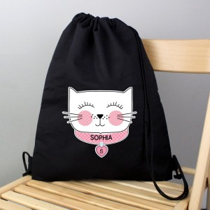 Personalised Cute Cat Black Swim & Kit Bag