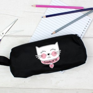 Personalised Cute Cat Black Pencil Case