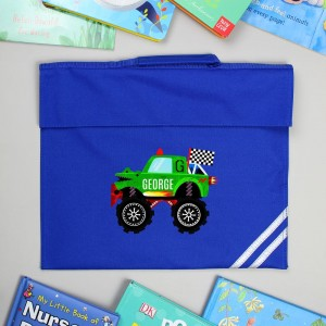 Personalised Monster Truck Blue Book Bag