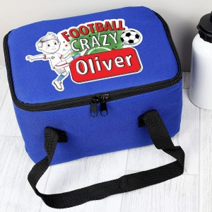 Personalised Football Crazy Blue Lunch Bag