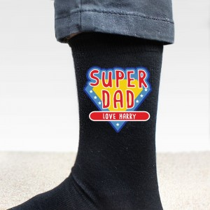 Personalised Super Dad Mens Socks