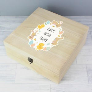 Personalised Easter Bunny & Chick Large Wooden Keepsake Box