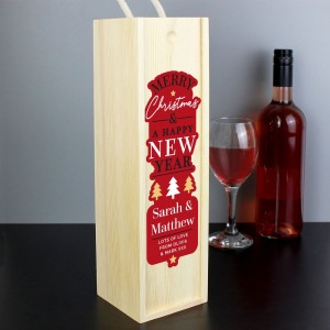 Personalised Merry Christmas & A Happy New Year Wooden Bottle Box