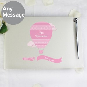Personalised Up & Away Baby Girl Hardback Guest Book & Pen