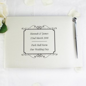 Personalised Black Hardback Guest Book & Pen