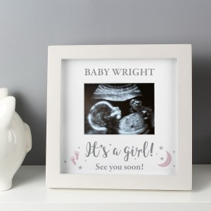 "Personalised ""It's A Girl"" 4 x 3 Baby Scan Frame"