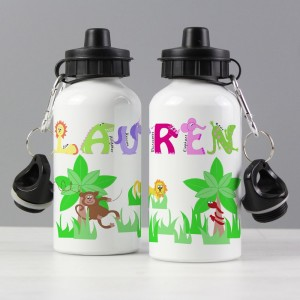 Personalised Pink Animal Alphabet Drinks Bottle