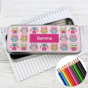 Personalised Summer Owl Pencil Tin with Pencil Crayons