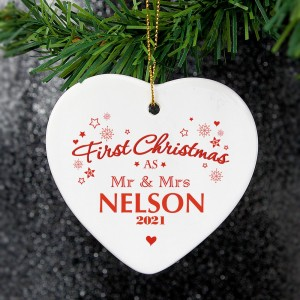 "Personalised ""Our First Christmas"" Ceramic Heart Decoration"