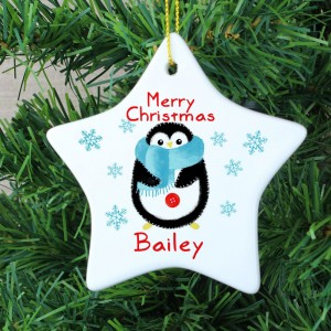 Personalised Felt Stitch Penguin Ceramic Star Decoration