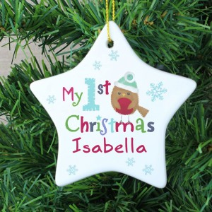 "Personalised Felt Stitch Robin ""My 1st Christmas"" Ceramic Star Decoration"