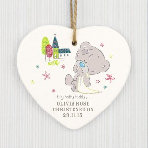 Personalised Tiny Tatty Teddy Christening Ceramic Heart Decoration