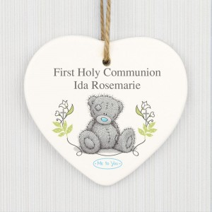 Personalised Me To You Religious Cross Ceramic Heart Decoration
