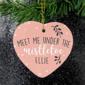"Personalised ""Meet Me Under The Mistletoe"" Ceramic Heart Decoration"