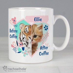 "Personalised Rachael Hale ""Before Coffee/After Coffee"" Cat Mug"