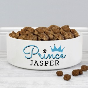 Personalised Prince 14cm Medium Ceramic White Pet Bowl