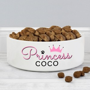 Personalised Princess 14cm Medium Ceramic White Pet Bowl