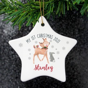 Personalised 1st Christmas Festive Fawn Ceramic Star Decoration