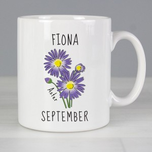 Personalised September Birth Flower - Aster Mug