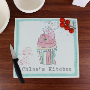 Personalised Vintage Pastel Cupcake Glass Chopping Board