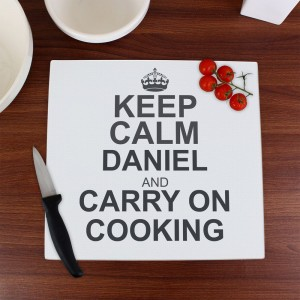 Personalised Keep Calm Glass Chopping Board/Worktop Saver