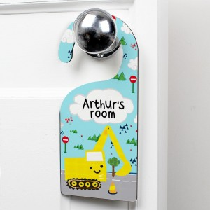 Personalised Digger Door Hanger