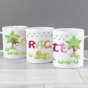 Personalised Animal Alphabet Plastic Cup Mug