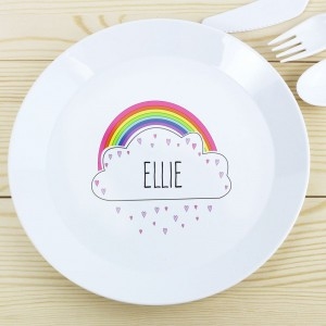 Personalised Rainbow Plastic Plate