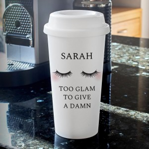 Personalised Eyelashes Insulated Eco Travel Cup