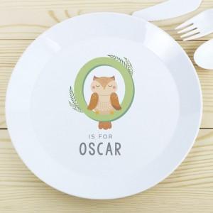 Personalised Animal Alphabet Plastic Plate