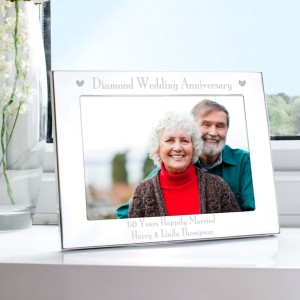 Personalised Silver 7x5 Diamond Anniversary Landscape Photo Frame