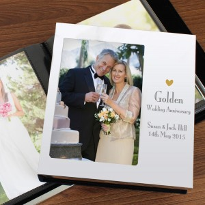 Personalised Decorative Golden Anniversary Photo Frame Album 6x4